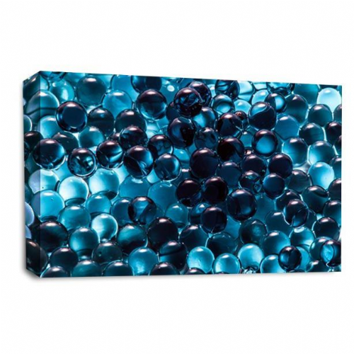 Modern Abstract Wall art Picture Blue Black White Grey Bubbles Print